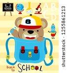 cute bear cartoon with school... | Shutterstock .eps vector #1255861213