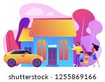 happy parents with children and ... | Shutterstock .eps vector #1255869166