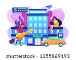 business people at hotel use...   Shutterstock .eps vector #1255869193