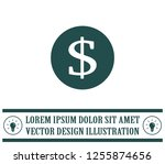 dollar icon in black circle ... | Shutterstock .eps vector #1255874656