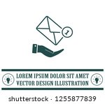 mail envelope on the hand  mail....   Shutterstock .eps vector #1255877839