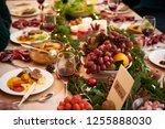 various tasty dishes on dinner...   Shutterstock . vector #1255888030