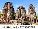 faces of bayon temple in angkor ... | Shutterstock . vector #1255905970