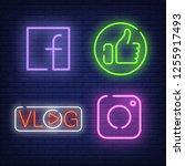 social media neon signs set... | Shutterstock .eps vector #1255917493