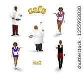 set of cafe staff characters... | Shutterstock .eps vector #1255933030