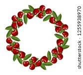 cherry wreath isolated on white ... | Shutterstock .eps vector #1255938970