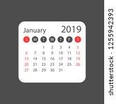 calendar january 2019 year in... | Shutterstock .eps vector #1255942393