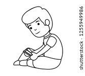 little schoolboy with smartphone | Shutterstock .eps vector #1255949986