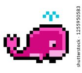 pixel art whale pink animal icon | Shutterstock .eps vector #1255950583