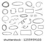 tangled shapes on white. hand... | Shutterstock .eps vector #1255959103