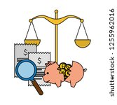 piggy savings with set of... | Shutterstock .eps vector #1255962016