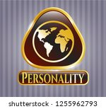 gold badge with earth icon and ...   Shutterstock .eps vector #1255962793