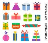 vector set of different gift... | Shutterstock .eps vector #1255965859