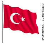 flag of turkey with flag pole... | Shutterstock .eps vector #1255968310