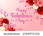 valentines day greeting card... | Shutterstock .eps vector #1255972123