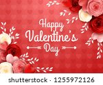 valentines day greeting card... | Shutterstock .eps vector #1255972126