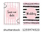 bridal shower set with dots and ... | Shutterstock .eps vector #1255974523