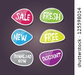 vector glossy paper labels with ...