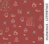 seamless christmas pattern in...   Shutterstock .eps vector #1255987663