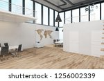 bright two story office... | Shutterstock . vector #1256002339