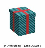 green gift box with ribbon on... | Shutterstock .eps vector #1256006056