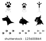 animal,bird,black,cat,collection,dog,domestic,foot,footprint,footstep,head,home,hound,icon,illustration