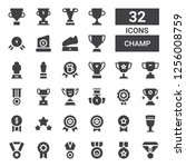 champ icon set. collection of... | Shutterstock .eps vector #1256008759