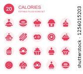 calories icon set. collection... | Shutterstock .eps vector #1256015203