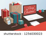 merry christmas and happy new... | Shutterstock .eps vector #1256030023