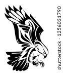 flying bird of prey tattoo... | Shutterstock .eps vector #1256031790