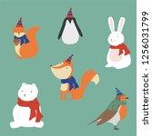 christmas cute animals... | Shutterstock .eps vector #1256031799