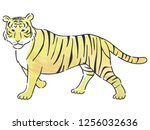 tiger with watercolor texture | Shutterstock .eps vector #1256032636