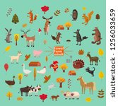 set of cute and cute farm and... | Shutterstock .eps vector #1256033659