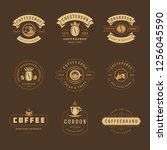 coffee shop logos design... | Shutterstock .eps vector #1256045590
