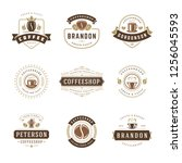coffee shop logos design... | Shutterstock .eps vector #1256045593