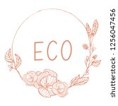 eco product badge witn floral... | Shutterstock .eps vector #1256047456