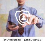 button shield security virus... | Shutterstock . vector #1256048413
