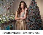 woman at christmas | Shutterstock . vector #1256049733