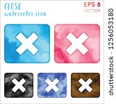 close watercolor icon set.... | Shutterstock .eps vector #1256053180