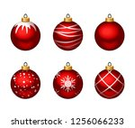 vector set of red christmas... | Shutterstock .eps vector #1256066233