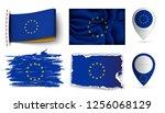 set of european union flags... | Shutterstock .eps vector #1256068129