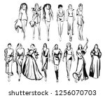 stylish fashion models. pretty... | Shutterstock . vector #1256070703