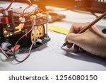 teacher learning preparing in... | Shutterstock . vector #1256080150