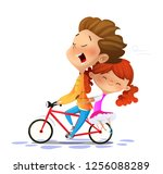 boy with girl riding a bike....   Shutterstock .eps vector #1256088289