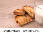 toasted bread slices with... | Shutterstock . vector #1256097343