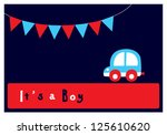 baby boy arrival card | Shutterstock .eps vector #125610620
