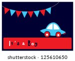baby boy arrival card | Shutterstock .eps vector #125610650