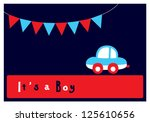 baby boy arrival card | Shutterstock .eps vector #125610656