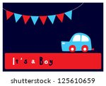 baby boy arrival card | Shutterstock .eps vector #125610659
