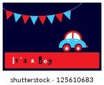 baby boy arrival card | Shutterstock .eps vector #125610683